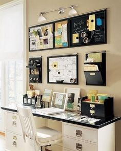 Keeping A Clean Organized Office Space Is Essential. (Idea: A Color Scheme  Makes Clutter Look Simplified)
