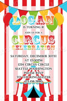Circus Birthday Invite Invitation Party by ShimmeringLionStudio
