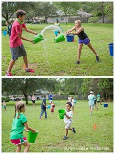 Water bucket tag team race....already have 2 buckets, just grab a 4 more at the dollar tree