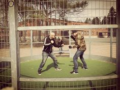On instagram by tapaturma_blc #thunderdome #gabbermadness (o) http://ift.tt/2c63hLp i grew up we have a thunderdome on a school yard. That's how we settle our differences in finnish schools ;) #memorylane #isurvivedkoivukylä #fightpit  #twomanenteronemanleaves #cage #friendsforever