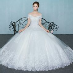 V neck lace ball gown