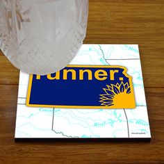 Kansas State Runner - Glossy Tile Coasters - Show off your pride for Kansas with this great Kansas Runner Coaster.