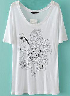 White Short Sleeve Zodiac Sign Print T-Shirt US$17.09