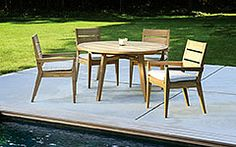 Shop the Kingsley Bate Algarve Modern Classic Teak Outdoor Round Dining Table - 52 inch and other Outdoor Dining Tables at Kathy Kuo Home Teak Garden Furniture, Outdoor Furniture Design, Furniture Ideas, Lawn Furniture, Backyard Furniture, Furniture Inspiration, Outdoor Bar Table, Outdoor Dining Chairs, Dining Table