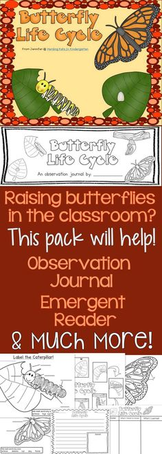 Raising caterpillars into butterflies? This Life Cycle pack is full of great printables! Includes an observation journal, emergent reader, sequencing pages, labeling sheets, writing prompts & much more!
