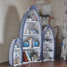 The Mediterranean Style Home Accessories Curio Cabinets Three Piece Wooden  Display Cabinet Small Boat