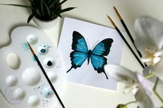 Akwarelowy motyl – Papilio ulysses watercolor butterfly Paper Quilling Cards, Butterfly Watercolor, Incense, Hair Accessories, Bows, Handmade, Instagram, Poster, Arches