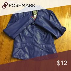 Faux Leather Jacket It's a mixture of blue and purple. Brand new!! Never worn. Very lightweight. Very cute !! Jackets & Coats Blazers