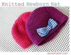 Knitted Newborn Hat with fabric bow