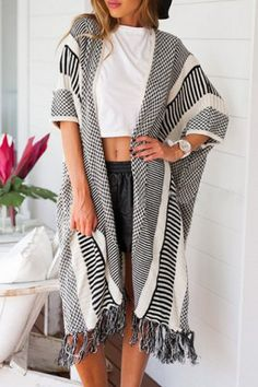 Stylish Color Spliced Tassel Spliced Half Sleeve Cardigan For WomenSweaters & Cardigans | RoseGal.com