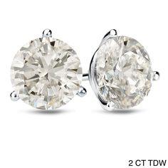 Auriya Platinum 1 CT to 2 CT TDW Certified Martini Diamond Stud Earrings