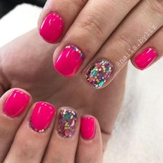 Hot pink and sparkles.