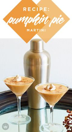 Pumpkin liqueur gives this martini its festive fall flavor. Add a cinnamon stick and a sprinkle of nutmeg and voila! A Pumpkin Pie Martini is born. Fall Drinks, Holiday Drinks, Cocktail Drinks, Thanksgiving Cocktails, Fun Drinks Alcohol, Yummy Drinks, Alcoholic Drinks, Pumpkin Martini, Pumpkin Drinks