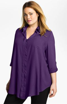 Pleione Roll Sleeve Mixed Media Shirt (Plus) | Nordstrom $64.00