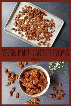 Vegan Maple Candied Pecans - Not Just Soy Easy Treats To Make, Candied Pecans, My Recipes, Oatmeal, Ice Cream, Vegan, Breakfast, Desserts, Food