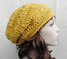 Crochet Women's Slouchy Beanie hat Adult Teen Girls  Hat Beret mustard Yellow Chunky