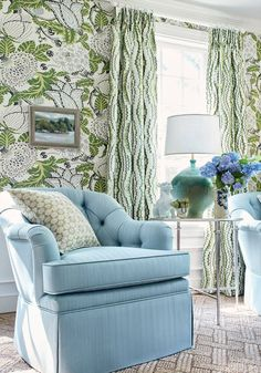 Thibaut Mitford Wallpaper, wow this is a beautiful pattern the green with the light blue is just amazing the wallpaper detail is just beautiful. Green Wallpaper, Fabric Wallpaper, French Wallpaper, Classic Wallpaper, Wallpaper Wallpapers, Chinoiserie Wallpaper, Green Home Decor, Enchanted Home, Fine Furniture