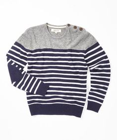 Love this Navy Stripe Colorblock Wool Sweater - Men by BARQUE on #zulily! #zulilyfinds