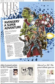 Illustration from Blain Hefner for The Salt Lake Tribune's features section May 4, 2012, for the opening of The Avengers.