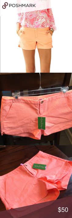 Lilly Pulitzer Adie cantaloupe shorts cotton The shorts are absolutely gorgeous brand new with the gold button from a non-smoking household 100% cotton has a textured pattern of a Chevron and small slits on the side of the short on the upper outer thigh Lilly Pulitzer Shorts