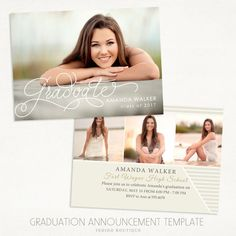 Senior Graduation Announcement Template for Photographers 013 - ID227, Instant…