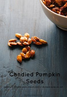 Easy candied pumpkin seeds made with organic coconut oil, maple syrup, and sea salt. Peanut Butter Oatmeal, Oatmeal Chocolate Chip Cookies, Healthy Sweets, Healthy Eating, Vegan Dishes, Holiday Desserts, Pumpkin Recipes, Whole Food Recipes, Healthy Recipes