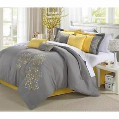Yellow Gray Bedroom, Grey Bedroom Design, Grey Yellow, Bedroom Designs, Yellow Comforter, Queen Comforter Sets, Yellow Bedding Sets, Fur Comforter, Bedspread