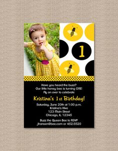 Bumble Bee Birthday Party Invitations by Honeyprint on Etsy, $15.00