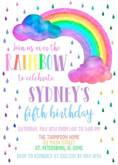 Rainbow Birthday Invitation Rainbow Invitation Over The Rainbow Rainbow Party Rainbow Birthday Printable Rainbow Invite Personalized Rainbow Birthday Invitations, Rainbow First Birthday, First Birthday Party Themes, 4th Birthday Parties, Birthday Fun, Birthday Ideas, Birthday Cakes, Rainbow Parties, Rainbow Theme