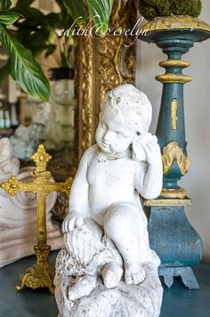 FAB Vintage Cherub Statue Cement Shabby White by edithandevelyn