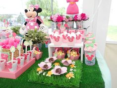 Pink Minnie Mouse garden birthday party! See more party planning ideas at CatchMyParty.com!