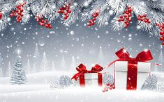 Download wallpapers Christmas, New Year gifts, red Christmas balls, snow, winter