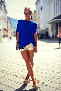 cobalt blue top , metallic gold shorts and shoes ,love it all