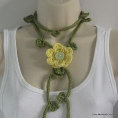 Ideas... Crochet Lariat Scarf with Flower Pin  Crochet by patcreates.. No pattern.. Etsy..