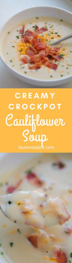 Creamy Crockpot Cauliflower Soup is a low carb, easy and tasty dinner for those chilly nights ahead! Grab your crockpot, some bacon (yum!) and this comforting recipe.
