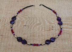 handcrafted Magenta agate and violet glass necklace by BijoubeadsLondon Purple Necklace, Glass Necklace, Boho Necklace, Magenta, Lilac, Beaded Bracelets, Necklaces, Agate Beads, Silver
