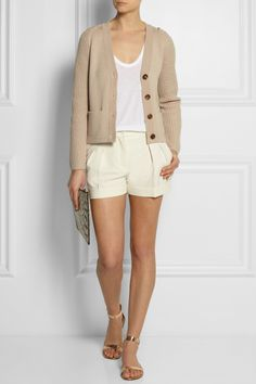Chloé| Contrast-knit wool cardigan | T by Alexander Wang | Classic jersey racer-back tank | Moschino - high rise wool crepe shorts | Gianvito Rossi | Metallic leather sandals | Kotur | Peter elaphe clutch