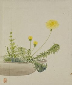 Yoshizawa Setsuan (Japanese, 1809-1889), Leaf from Album Depicting Birds, Flowers, Landscapes and Flower Pots, 1876,ink and colors on silk and paper,91/8 x 101/2 in. (23.2 x 26.6cm)