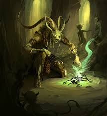 A Beastman shaman works his magics for the good of the herd.  A shaman's magic is usually a 'battle magic', designed to bring strength of limb, and incite savagery in their warriors.  Rare will Beastmen shamans use their power to raise crops or bring fair weather.