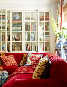 red velvet sofa, blue and white, living room- Mark D. Sikes