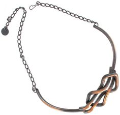 Very nice vintage copper choker necklace. This type of Modernist design as was all the rage with a certain set in the 1950s and still continues to be popular today. Type: Necklace Designer: Private Label Materials: Copper Metal: Copper Center Width: 1 Length Adjustable: 12-18 Condition: