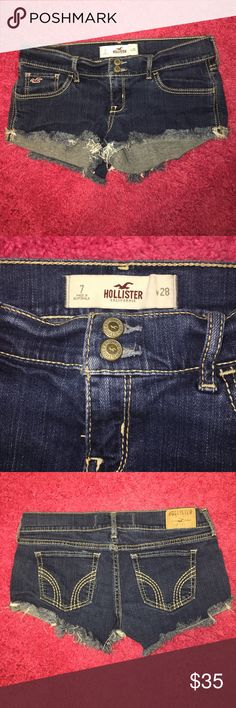 Hollister Cut Off Jean Shorts Like new Dark Rinse Hollister Cut Off Style Jean Shorts size 28! Waist Measurement is 15in. Inseam 2in. Rise 7in. Made of 98% Cotton 2% Elastane. Only worn once so they are in perfect condition! Hollister Shorts Jean Shorts