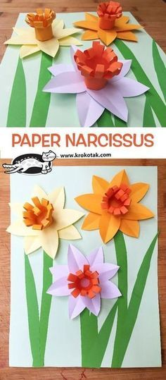 Paper Narcissus Craft for KidsPAPER NARCISSUS Related Post Cute Minimal Tattoo Ideas for Women at MyBodiArt. How to make paper flowers for Mother's daychildren activities, more than 2000 coloring pages. Easy paper craft tutorial for kids, step by s Spring Crafts For Kids, Crafts For Kids To Make, Easy Crafts For Kids, Summer Crafts, Flower Crafts, Flower Art, Craft Flowers, Daffodil Craft, Fleurs Diy