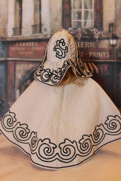 ON Layaway. Amazing  Doll Huret Style Antique Pique & Soutache  Cape and matching bonnet!