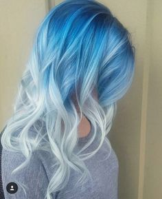 Midnight blue ombre for platinum silver hair color in soft curls #haircolor #blue #hair