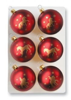 Red Ball & Gold Horse Christmas Ornaments - great idea for all my barn friends!