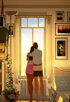 """If Life Was Made On Canvas"": Heartwarming Illustrations By Pascal Campion Image Couple, Cute Couple Art, Pascal Campion, Color Script, Couple Illustration, Digital Illustration, Couple Drawings, Art Drawings, Feeling Loved"