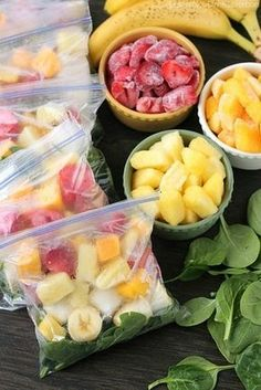 Freeze fruit (and maybe vegetables) for smoothies in individual, single-serving bags.