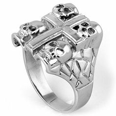 6mm High Polished Stainless Steel Biker Ring with Four Death Skulls and Cross (Available Size 8-14) 14 THE ICE EMPIRE. $8.95. SKULL & BONES RINGS. GREAT FOR ANY BIKER. Tough / Strong Ring. 31l Stainless Steel. Great for any Mechanic or Biker