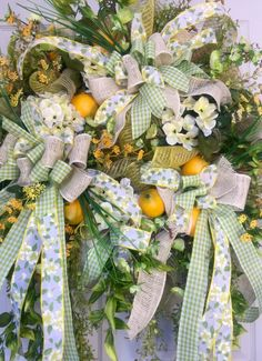 Premium Spring or Summer Lemon Lime Wildflower Mesh Wreath by WilliamsFloral on Etsy https://www.etsy.com/listing/386855792/premium-spring-or-summer-lemon-lime